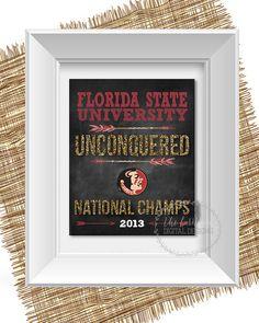 Florida State University National Champions 2013 Football Gift Chalkboard
