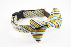 Linus + Schroder REALLY need these cute collars: Teal mustard preppy stripes bow tie dog collar by SillyBuddy, $42.00.