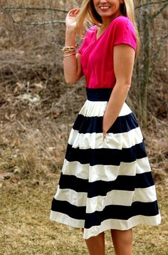 Navy White Midi Stripe Skirt inspiration. Check out ObsessedToDress.com for stripe skirts. Modest Outfits, Modest Fashion, Cute Outfits, Fashion Outfits, Womens Fashion, Dress Up, Dress Skirt, Midi Skirt, Jw Mode