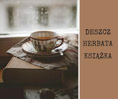 Deszcz, herbata, książka; rain, tea, book;