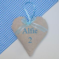 Children's Name And Age Heart by Tuppenny House Designs, the perfect gift for Explore more unique gifts in our curated marketplace. French Lavender, Tooth Fairy, Blue Bags, Kid Names, Pink Blue, Birthday Gifts, Unique Gifts, Baby Boy, Christmas Ornaments