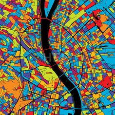 Budapest Colorful Vector Map on Black by Hebstreits #stockimage #design #map #colorful #vector
