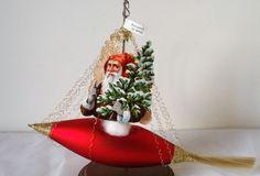 Rare Vtg German Wire Wrap Sail Boat Ship Santa Claus Christmas Tree Ornament