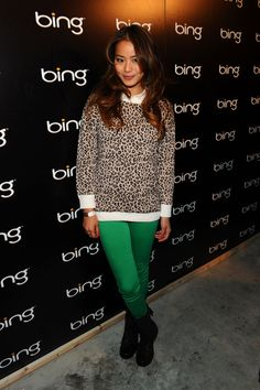 Jamie Chung: leopard sweater + blouse + green skinnies