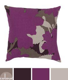 purple and tan floral pillow color palette, grape purple, sherwin williams mature grape, sherwin williams poised taupe, khaki tan, black-brown, brown-black, reddish-brown, dark bronze