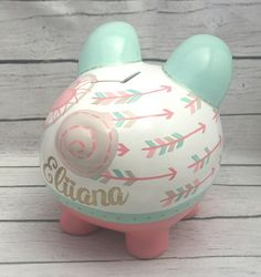 Personalized Piggy Bank Boho Chic Arrows and by Alphadorable Personalized Piggy Bank, Personalized Gifts, Piggy Banks, Baby Coming, Money Box, Ceramic Painting, Custom Items, Handmade Art, Pigs