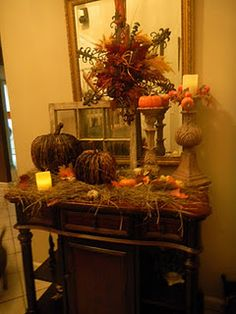 Fall decor for mantle  use tall candle holders painted or black metal ones from tennessee