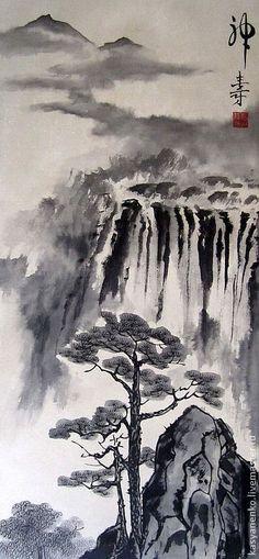 """Купить Китайский пейзаж """"Стремительные потоки приветствуют сосну"""" - бежевый…"""