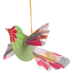 Susan,   Kids could make these with old book pages      HANDMADE PAPER BIRD ORNAMENTS