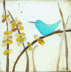 This little blue bird is ready for the fall weather! Easy Painting Projects, Fall Weather, Jenni, Easy Paintings, Mixed Media Art, Blue Bird, Acrylics, Folk Art, Journals