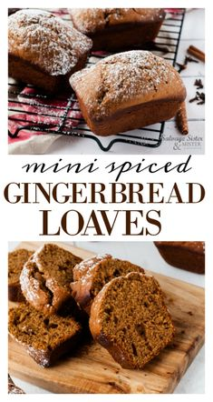 Mini Spiced Gingerbread Loaves Mini Spiced Gingerbread Loaves – Salvage Sister and Mister – Mini Desserts, Christmas Desserts, No Bake Desserts, Just Desserts, Dessert Recipes, Holiday Bread, Holiday Baking, Christmas Baking, Italian Christmas