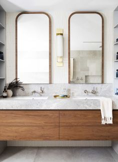This opulent ensuite has a feeling of modern luxury, as the walnut veneer vanity pairs beautifully with a benchtop crafted from Chambord… Beautiful Bathrooms, Modern Bathroom, Small Bathroom, Master Bathroom, Modern Contemporary Bathrooms, Timeless Bathroom, Bathroom Renovation Cost, Bathroom Trends, House And Home Magazine