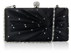 A very glamorous black satin hard case box clutch bag with diamantes and ruched detail to the front.   Plain black satin to the back.  Though this bag is rectangular when looking at it face on, the back has slight padding which gives it a luxury feel and rounded shape from the side.  Silver frame and clasp closure with diamante detailing.  2 detachable silver link chains measuring 40cm and 120cm.  Black satin lining and internal pocket.   Size (cm): 18 wide x 11 high x 5 deep Black Clutch Bags, Bags Uk, Black Box, Plain Black, Black Rhinestone, Evening Bags, Evening Dresses, Black Satin, Stones And Crystals