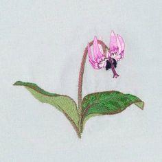 カタクリ_9    完成!  花7色、茎と葉7色、  計14色使用しました。    #刺繍  #手刺繍  #カタクリ  #花  #flowers  #embroidery  #embroideryart