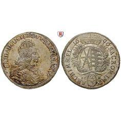 Sachsen, Albertinische Linie, Friedrich August I., 2/3 Taler 1696, vz-st: Friedrich August I. 1694-1733. 2/3 Taler 1696 Leipzig EPH.… #coins