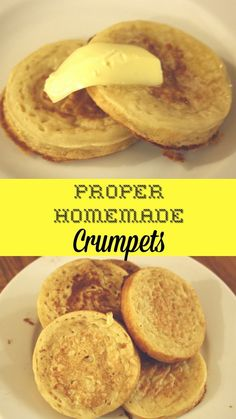 Proper home-made crumpets. Easy batter fried in butter for deliciously fresh crumpets ready to smother with your favourite toppings. Breakfast Desayunos, Breakfast Recipes, Homemade Crumpets, Crumpet Recipe, Great British Food, A Food, Good Food, Cream Puff Recipe, Baking Recipes