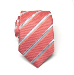 Mens Ties. Necktie Coral Gray Stripes Mens Tie by TieObsessed