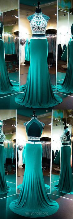 Top Sheath/Column Green Prom Dresses, High Neck Chiffon Long Formal Dresses,  Tulle Sweep Train Beading Evening Dresses, Open Back Two Piece Party Gowns