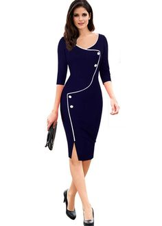 UVKKC Women Office Dress Brief Split Bottom Elegant Luxury Vestidos Sleeve O Neck Bodycon Knee Women Bodycon Pencil Dress Office Dresses, Dresses For Work, Jw Mode, Body Con Dress, Elegantes Outfit, Work Attire, African Dress, Work Casual, Short Prom Dresses