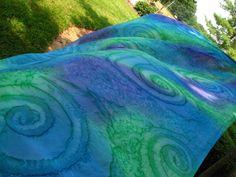 Going in Circles . . . hand painted silk belly dance veil, rectangle