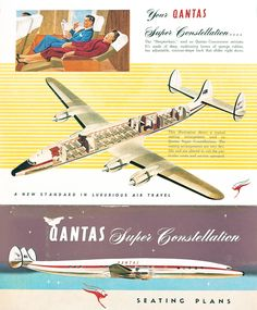 Qantas Lockheed Super Constellation, cutaway drawing, late 1950s.