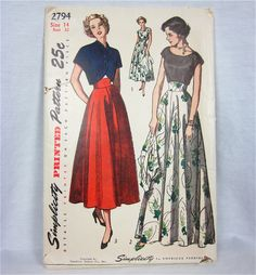 Vintage 1940s Sewing Pattern Simplicity 2794.