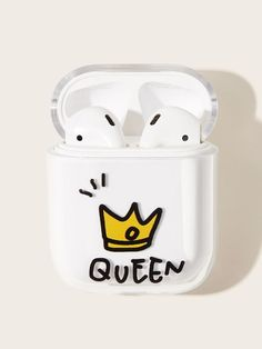 Shop Crown Pattern Air-Pods Charger Box Protector at ROMWE, discover more fashion styles online. Cute Cases, Cute Phone Cases, Iphone Phone Cases, Fone Apple, Airpods Apple, Crown Pattern, Accessoires Iphone, Earphone Case, Airpod Case