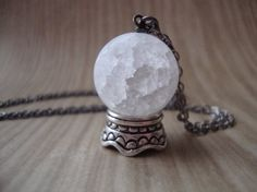 Gypsy Fortune Teller - Mystical Crystal Ball Necklace with Crackled Quartz Glass Globe - Prophecy Oracle Priestess Spirit World Seance on Etsy, $26.00