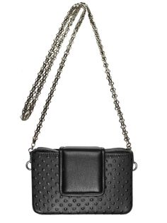 GOSHICO, small BOXY (evening bag with chain), black. To download high or low resolution photos view Mondrianista.com (editorial use only).