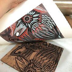 Crow blackbird Aesops fable woodcut print block print by Jenny Pope
