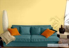 Farbgestaltung Für Ein Wohnzimmer In Den Wandfarben: My Delight/Jade/Mango