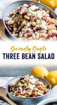 This three bean salad is the most delicious, seriously simple salad to hit your plate. It's a knock-out vegetarian and gluten-free side dish for summer barbecues, starring three beans, a zesty dressing, and a sprinkle of feta cheese. #healthy #mealprep #vegetarian #summer #beansalad #beans #cookout #recipe #glutenfree #simpleliving