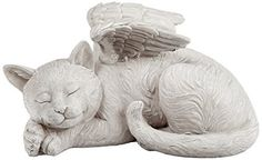 Cat Angel Statue Pet Sculpture Memorial Kitty Home Garden Decor Patio Lawn  Gift