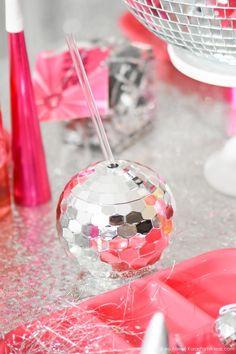 Disco Ball Cup. New Year's Eve Disco Party! FREE NYE Teen Printables! By Kara's Party Ideas | Kara Allen | KarasPartyIdeas.com #AD #craftywithcanon