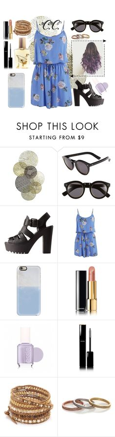 """No. 16"" by coralinecouture ❤ liked on Polyvore featuring Universal Lighting and Decor, Illesteva, Charlotte Russe, MINKPINK, Casetify, Chanel, Essie, Chan Luu, Eternally Haute and Flidais Parfumerie"