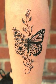 Colorful Butterfly Tattoo, Butterfly Tattoos For Women, Butterfly Tattoo Designs, Tattoo Designs For Women, Realistic Butterfly Tattoo, Calf Tattoos For Women, Colorful Sunflower Tattoo, Butterfly Sleeve Tattoo, Monarch Butterfly Tattoo