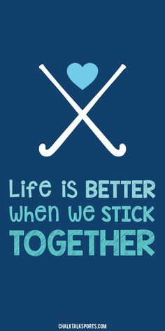 Life is better when we stick together!  A quote every field hockey girl should live by.  Always play as a team member, and off the field you should always support your teammates!  We now offer this design in a beach towel exclusively from ChalkTalkSPORTS.com!