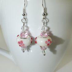 European Bead Silver Dangle Drop Earrings Handmade by BekisBeads