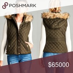 ❣Coming soon❣Fur Lined Hood Puff Vest❣ Faux fur lined vest with quilted  paytern, Gold buttons, side pockets Color: Olive WILA Jackets & Coats Vests