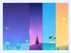 The conceptual design designed by Sheng Chang for Connect with them on Dribbble; Flat Design Illustration, Landscape Illustration, Graphic Illustration, Digital Illustration, Web Design, Game Design, Graphic Design, Game Background, Affinity Designer