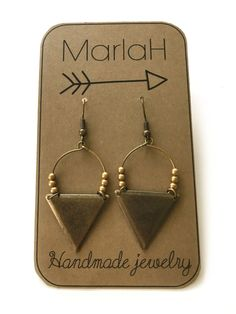 Etnic Triangle Hoop Earrings, Rustic Brass Earrings, Handmade Jewelry by MarlaH