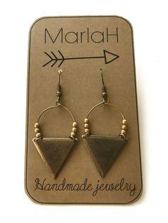 Etnic Triangle Hoop Earrings, Rustic Brass Earrings, Handmade Jewelry by MarlaH