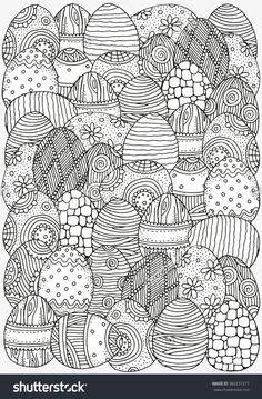 Pattern for coloring book. Easter hand-drawn decorative elements in vector. Black and white pattern. Made by trace from sketch. Zentangle images black and white Pattern Coloring Book Size Easter Stock Vector (Royalty Free) 360337277 Easter Coloring Pages, Printable Adult Coloring Pages, Flower Coloring Pages, Coloring Book Pages, Mandala Coloring, Colouring Sheets For Adults, Coloring Sheets, Easter Egg Designs, Easter Printables