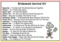 Bridesmaid Survival Kit In A Can. Humorous Novelty Gift - Wedding Day Thank You Present & Card All In One. Gifts For Her/Gifts For Women Favour/Favor. Customise Your Can Colour. (Pink/Cream)