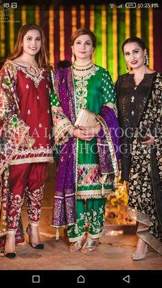Brides family at the mayun Beautiful Pakistani Dresses, Pakistani Formal Dresses, Pakistani Fashion Casual, Pakistani Wedding Outfits, Pakistani Dress Design, Bridal Outfits, Indian Dresses, Indian Fashion, European Fashion