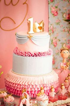 Gorgeous ruffle ombre Princess Birthday Party cake!  See more party planning ideas at CatchMyParty.com!
