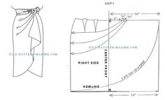 free pattern how to draft a sarong skirt Techniques Couture, Sewing Techniques, Skirt Patterns Sewing, Clothing Patterns, Pattern Cutting, Pattern Making, Sewing Clothes, Diy Clothes, Sewing Hacks