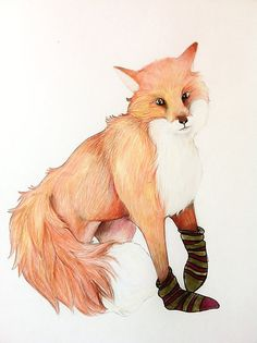 """Two of my favorite things!  (via """"Fox with striped socks"""" by Alice Prior 