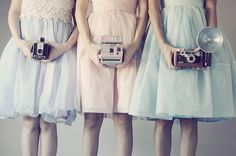 blue, cameras, dress, girls , pink, retro