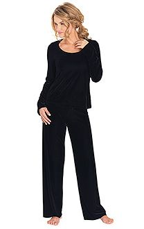 Black Velour Pajamas & More | PajamaGram This is the most comfortable outfit I have ever had. Perfect for the house. I got a blue set about 10 yrs ago and it still looks great. Its been washed many times. Worth the price